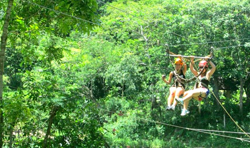 My sister and I ziplining
