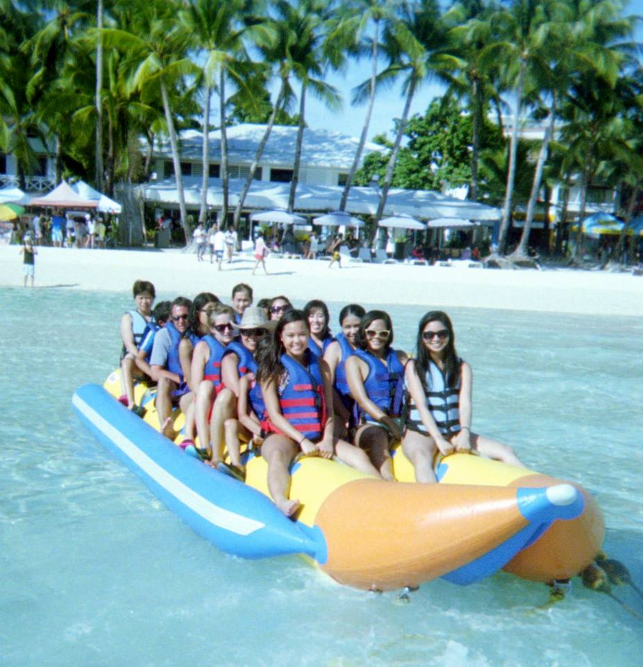All 20 of us on a banana boat made for 15