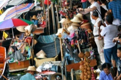 Busy floating market in Bangkok